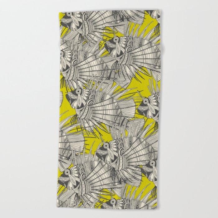 fish mirage chartreuse Beach Towel