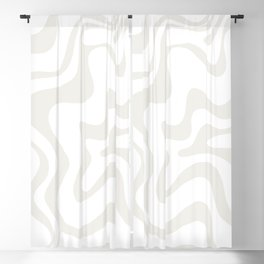 Liquid Swirl Abstract Pattern in Nearly White and Pale Stone Blackout Curtain