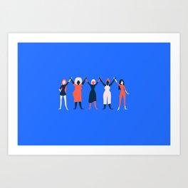 Girl Gang - Blue Art Print