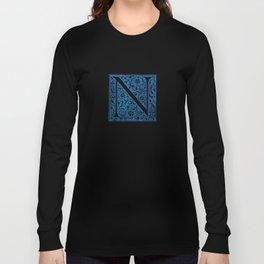 Letter N Antique Floral Letterpress Long Sleeve T-shirt