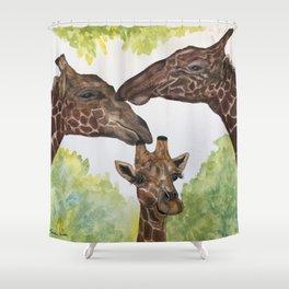 Giraffe Love by Maureen Donovan Shower Curtain