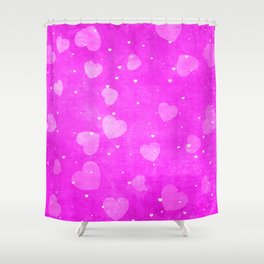 Neon Hot Pink Hearts Pattern Shower Curtain