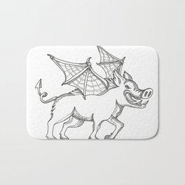 Winged Wild Boar Doodle Art Bath Mat