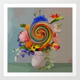 "Still life with a bouquet of flowers ""Swirl it up II"" Art Print"