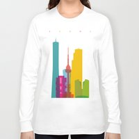 seoul Long Sleeve T-shirts featuring Shapes of Seoul accurate to scale by Glen Gould