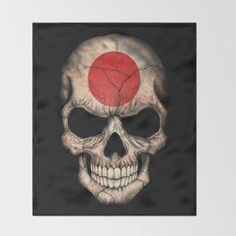Dark Skull with Flag of Japan Throw Blanket