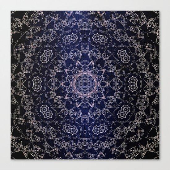 Glowing Nirvana Mandala On Deep Blue Textured Background Canvas Print