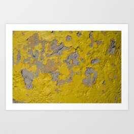 Yellow Peeling Paint on Concrete 1 Art Print