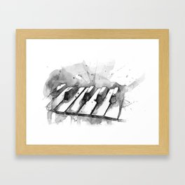Watercolor Piano (Grayscale) Framed Art Print