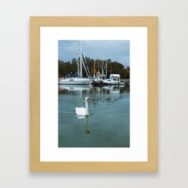 Swan in front of boats at Lake Palic, Serbia / Blue / Dawn Framed Art Print