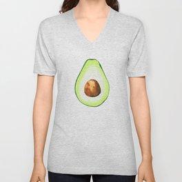 Half Avocado. Tropical Fruit. Unisex V-Neck