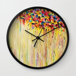 OPPOSITES LOVE Raining Sunshine - Bold Bright Sunny Colorful Rain Storm Abstract Acrylic Painting Wall Clock