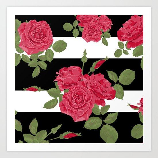 Red roses with horizontal stripes black white Art Print