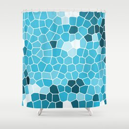 Ice Blue tile pattern Shower Curtain