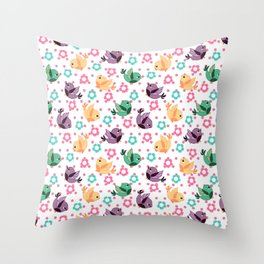 Freely Birds Flying - Fly Away Version 3 - Rouge Pink Dots Color Throw Pillow