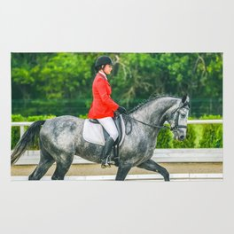 Beautiful girl riding a gray horse Rug