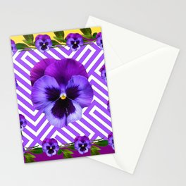 ABSTRACT YELLOW  CONTEMPORARY LILAC PURPLE PANSIES Stationery Cards