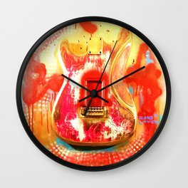 """To the Old Gods"" American contemporary Guitar  painting, prints , music , electric , wall art,decor Wall Clock"