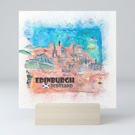 Edinburgh Scotland Illustrated Map with Main Roads Landmarks and Highlights Mini Art Print