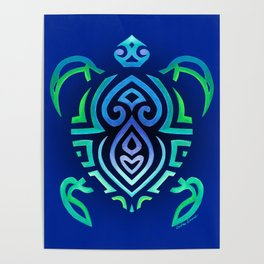 Tribal Turtle Ombre Background Poster