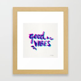Good Vibes – Magenta & Cyan Framed Art Print
