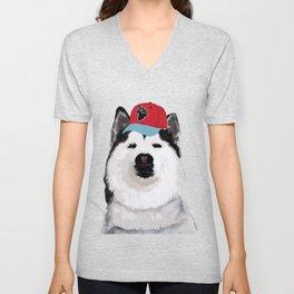 Happy Husky with Hat Unisex V-Neck