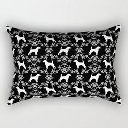 Beagle dog pattern black and white floral basic dog breeds repeat pattern beagles dog Rectangular Pillow