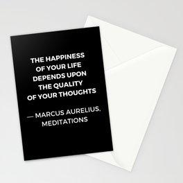 Stoic Wisdom Quotes - Marcus Aurelius Meditations - Happiness Stationery Cards