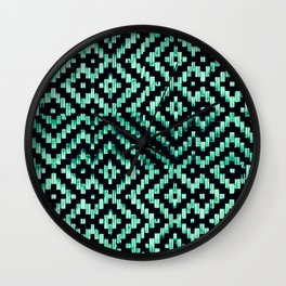 Weave Pattern Bali Black Turquoise Wall Clock