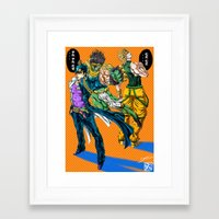 jjba Framed Art Prints featuring JJBA: Kujo Jotaro VS Dio Brando by DzoHo