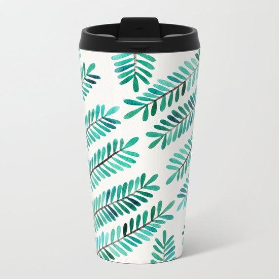 Turquoise Leaflets Metal Travel Mug