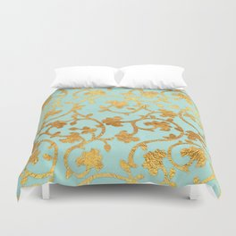 Golden Damask pattern Duvet Cover