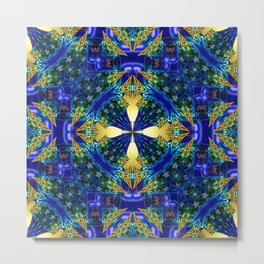 Quilt Tile 9 Gold and Ultramarine Metal Print