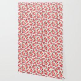 English Roses Blue Polka Dots Wallpaper