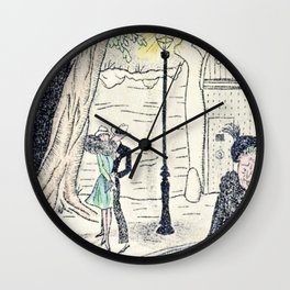 Young Lovers Caught Under the Street Lamp Hand Colored Vintage Erotica Wall Clock