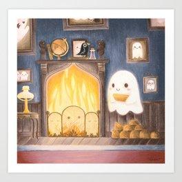 Little ghost making fire Art Print