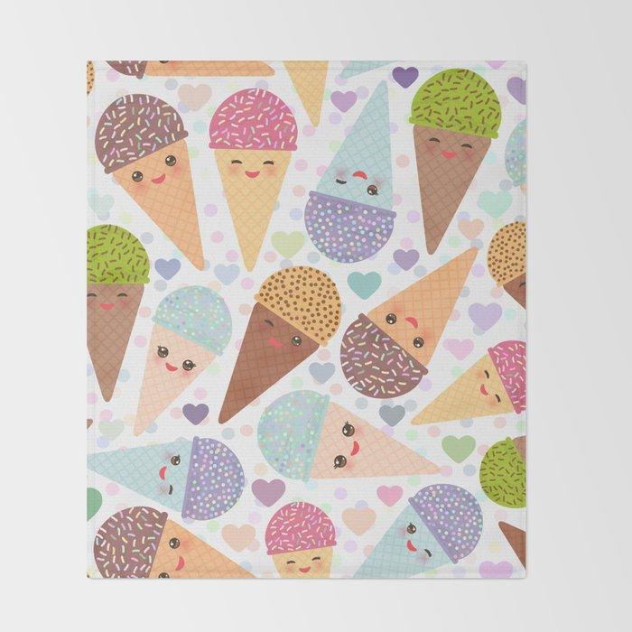 Kawaii funny Ice cream waffle cone, with pink cheeks and winking eyes Throw Blanket