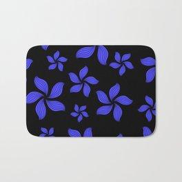 Hawaiian Island Style Violet-Blue Floral Print Bath Mat