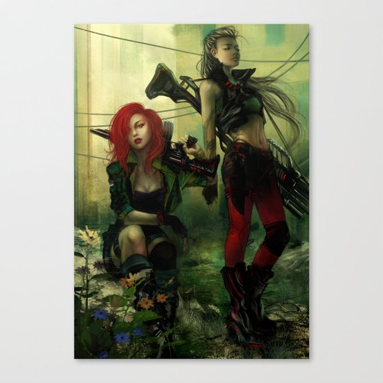 Hot pepper - Sci-fi soldier girls with weapons Canvas Print