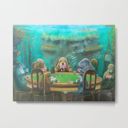 Pinnipeds Playing Poker Metal Print