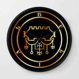 Seal of Belial or Sigil of Belial in gold- The Sixty-eighth Spirit created after Lucifer Wall Clock