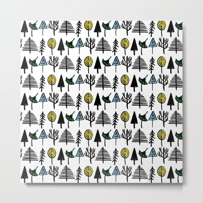 Hand drawn tree pattern Metal Print