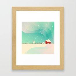 Peaceful Snowy Christmas (Teal) Framed Art Print