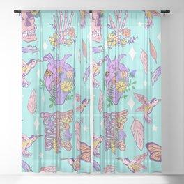 Pastel Goth Floral Morbid Anatomy Kawaii Witchy Sheer Curtain