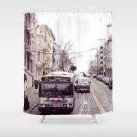 san francisco Shower Curtains featuring San Francisco  by Cynthia del Rio