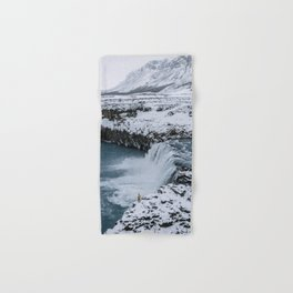 Waterfall in Icelandic highlands during winter with mountain - Landscape Photography Hand & Bath Towel