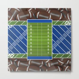 Blue Football Field and Footballs Metal Print