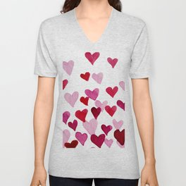 Valentine's Day Watercolor Hearts - pink Unisex V-Neck