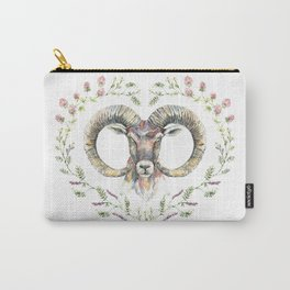 Ram's watercolor portrait with wildflowers wreath. Carry-All Pouch