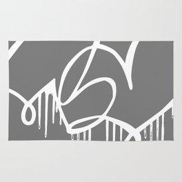 oversized grey logo Rug